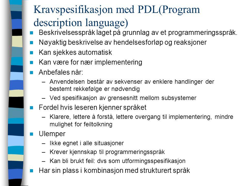 Kravspesifikasjon med PDL(Program description language) Beskrivelsesspråk laget på grunnlag av et programmeringsspråk. Nøyaktig beskrivelse av hendels