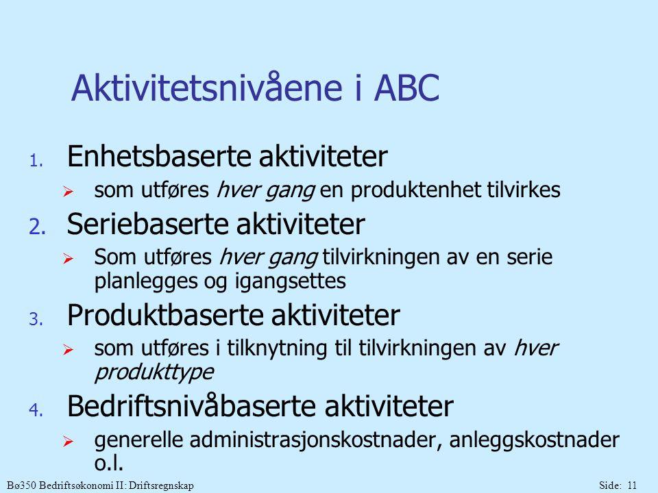 Bø350 Bedriftsøkonomi II: DriftsregnskapSide: 11 Aktivitetsnivåene i ABC 1. Enhetsbaserte aktiviteter  som utføres hver gang en produktenhet tilvirke