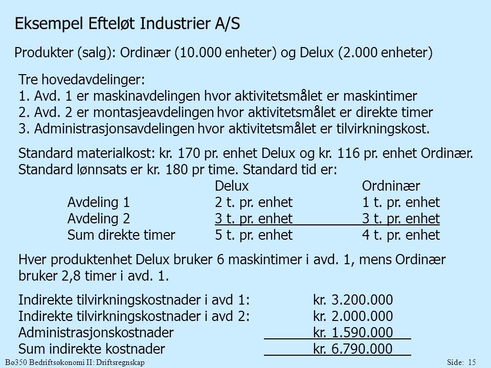 Bø350 Bedriftsøkonomi II: DriftsregnskapSide: 15 Eksempel Efteløt Industrier A/S Produkter (salg): Ordinær (10.000 enheter) og Delux (2.000 enheter) T
