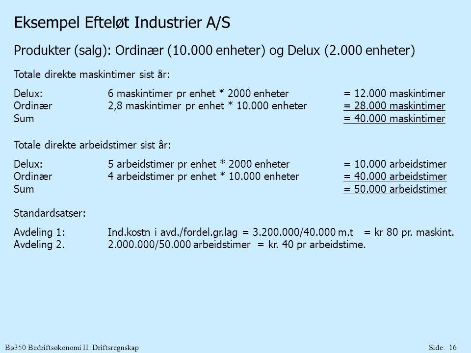Bø350 Bedriftsøkonomi II: DriftsregnskapSide: 16 Eksempel Efteløt Industrier A/S Produkter (salg): Ordinær (10.000 enheter) og Delux (2.000 enheter) T