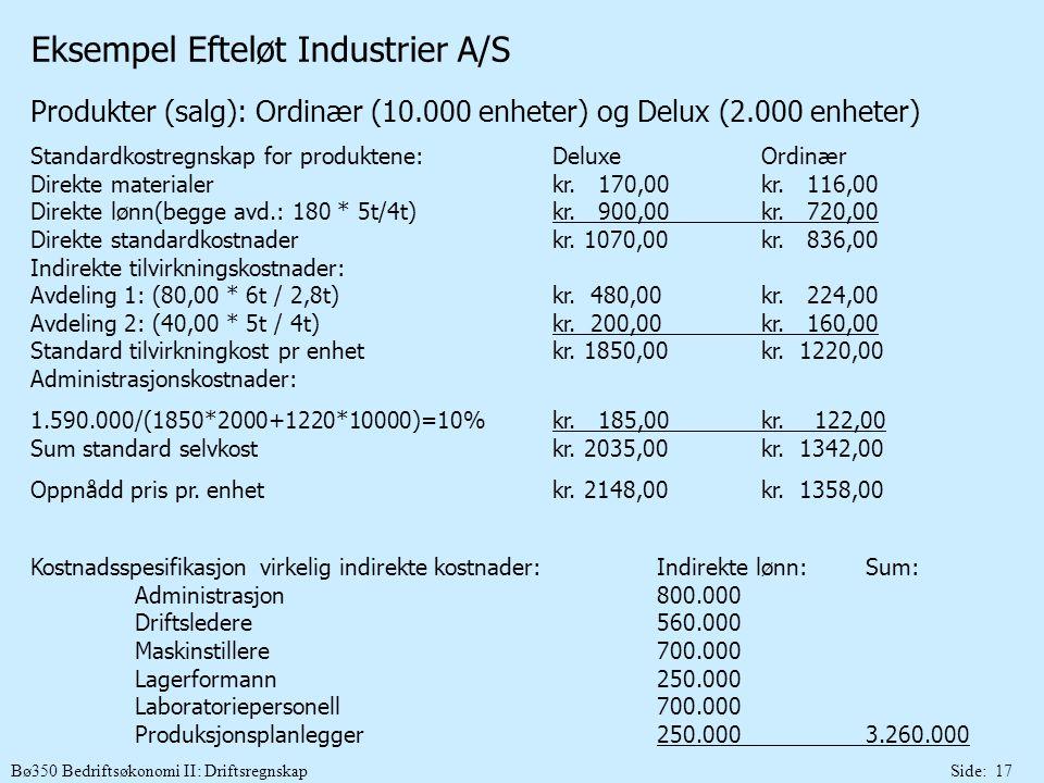 Bø350 Bedriftsøkonomi II: DriftsregnskapSide: 17 Eksempel Efteløt Industrier A/S Produkter (salg): Ordinær (10.000 enheter) og Delux (2.000 enheter) S