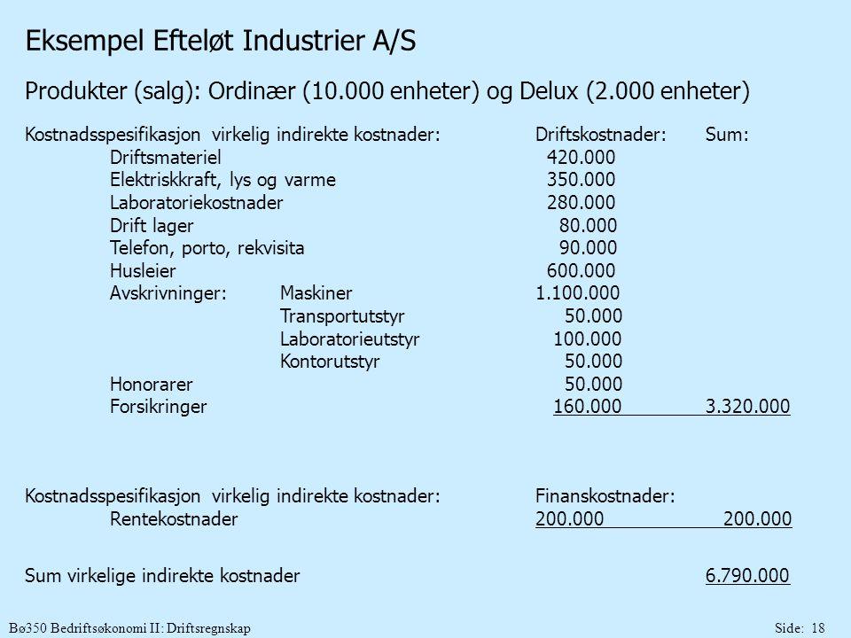 Bø350 Bedriftsøkonomi II: DriftsregnskapSide: 18 Eksempel Efteløt Industrier A/S Produkter (salg): Ordinær (10.000 enheter) og Delux (2.000 enheter) K