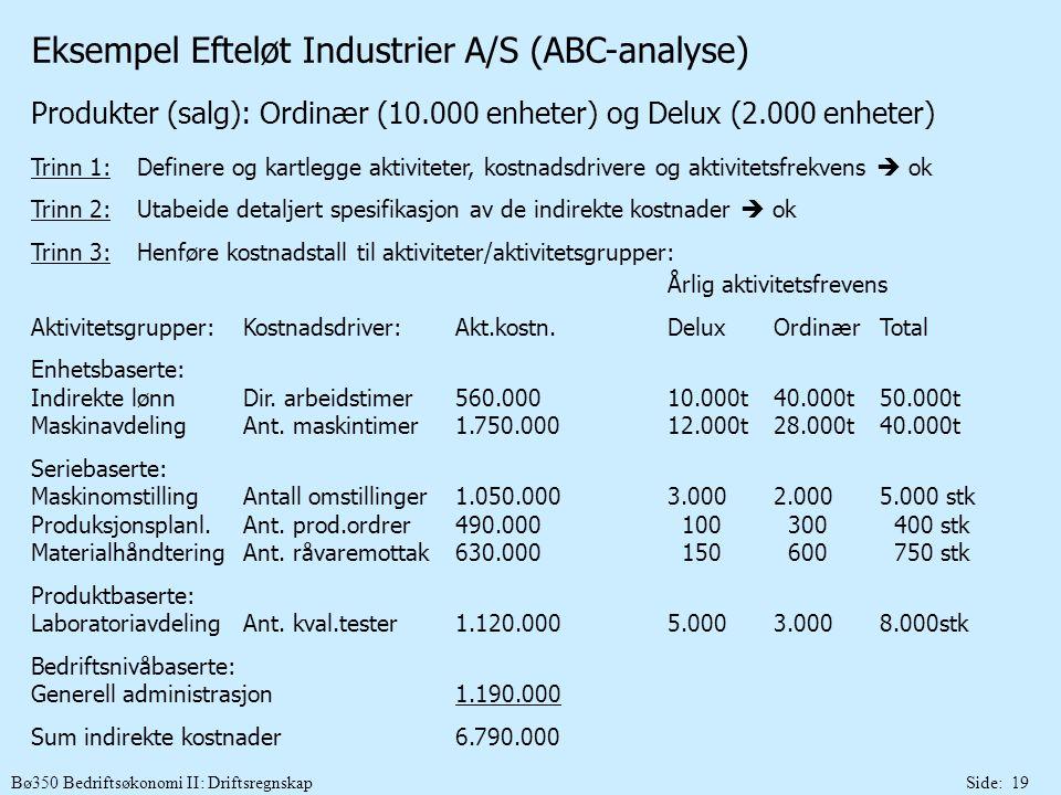 Bø350 Bedriftsøkonomi II: DriftsregnskapSide: 19 Eksempel Efteløt Industrier A/S (ABC-analyse) Produkter (salg): Ordinær (10.000 enheter) og Delux (2.