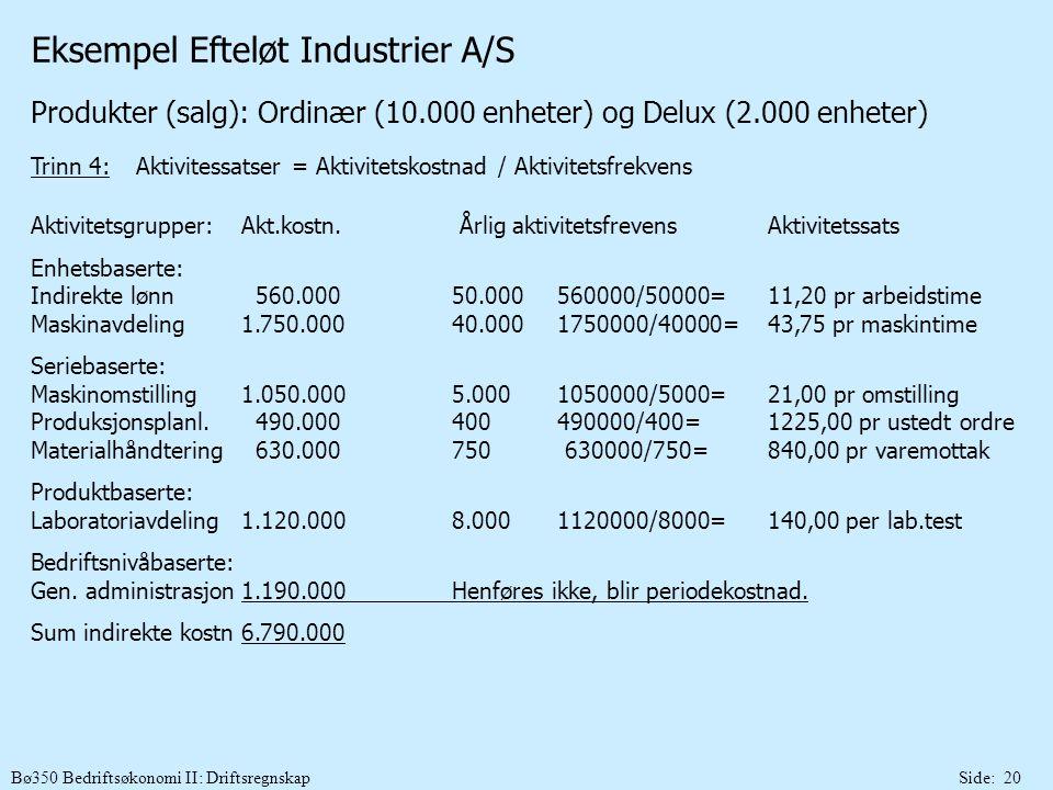 Bø350 Bedriftsøkonomi II: DriftsregnskapSide: 20 Eksempel Efteløt Industrier A/S Produkter (salg): Ordinær (10.000 enheter) og Delux (2.000 enheter) T