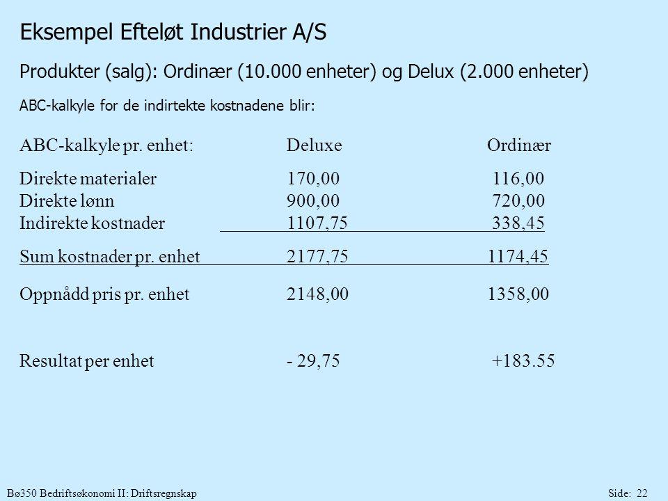 Bø350 Bedriftsøkonomi II: DriftsregnskapSide: 22 Eksempel Efteløt Industrier A/S Produkter (salg): Ordinær (10.000 enheter) og Delux (2.000 enheter) A