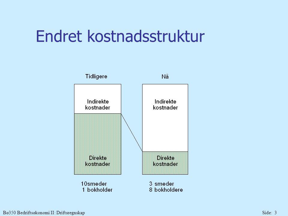 Bø350 Bedriftsøkonomi II: DriftsregnskapSide: 14 Trinnene i en ABC-kalkyle Definere og kartlegge aktiviteter og kostnads- drivere og aktivitets- frekvens Trinn 1 Gruppere og spesifisere kostnadene på aktiviteter Trinn 2 Henføre kostnads- tall til aktiviteter/ aktivitetsgrupper Trinn 3 Henføre aktivitets- kostnadene til kostnadsobjekter Trinn 4 1.Verdianalyse 2.Primær og sekundær analyser 3.Analyse av konsentasjons- grad Aktivitetssats * Kostnadsobj.