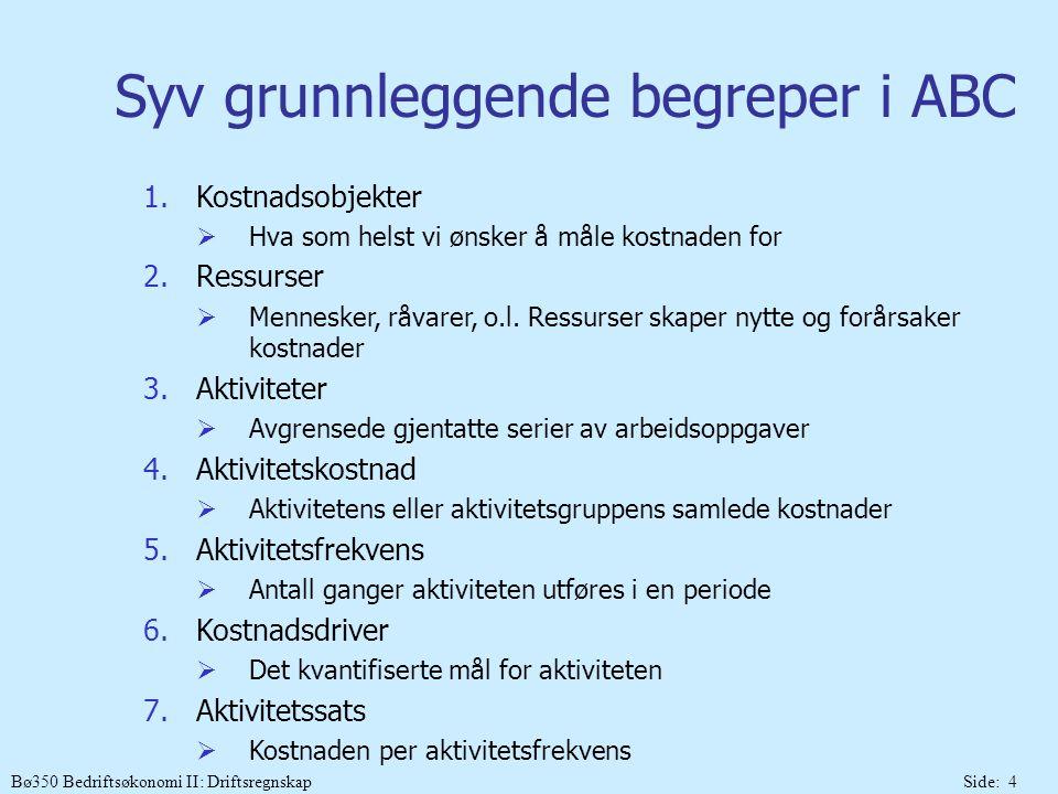 Bø350 Bedriftsøkonomi II: DriftsregnskapSide: 15 Eksempel Efteløt Industrier A/S Produkter (salg): Ordinær (10.000 enheter) og Delux (2.000 enheter) Tre hovedavdelinger: 1.