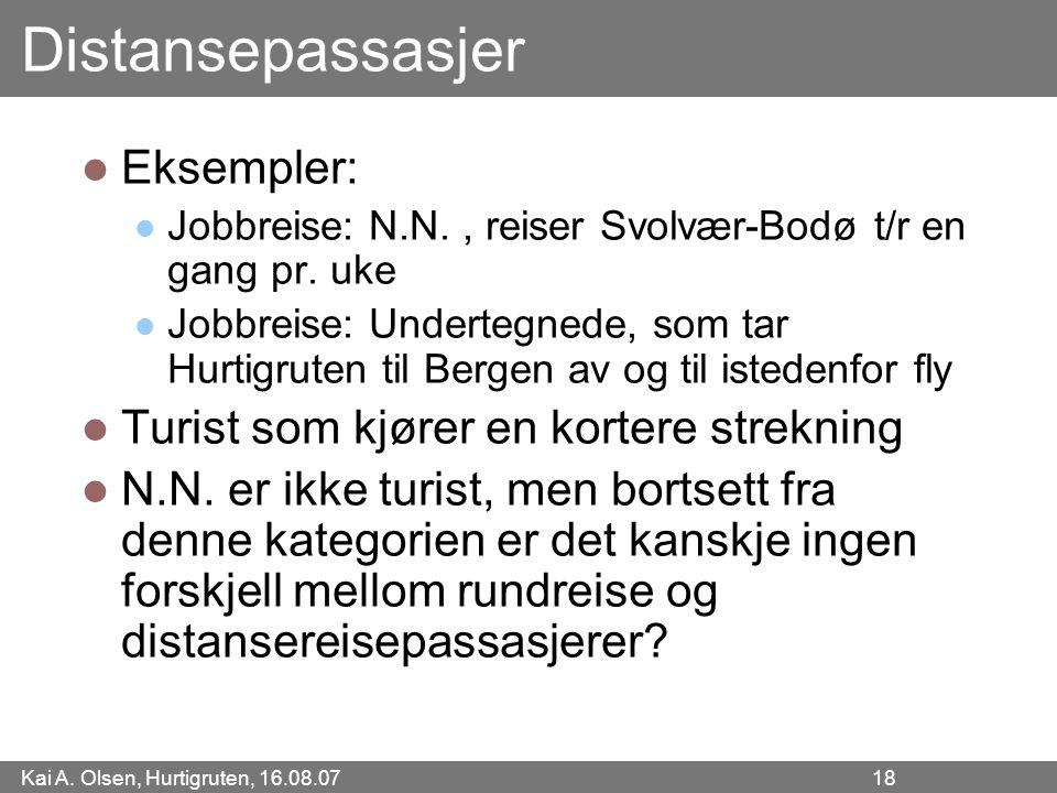 Kai A. Olsen, Hurtigruten, 16.08.07 18 Distansepassasjer Eksempler: Jobbreise: N.N., reiser Svolvær-Bodø t/r en gang pr. uke Jobbreise: Undertegnede,