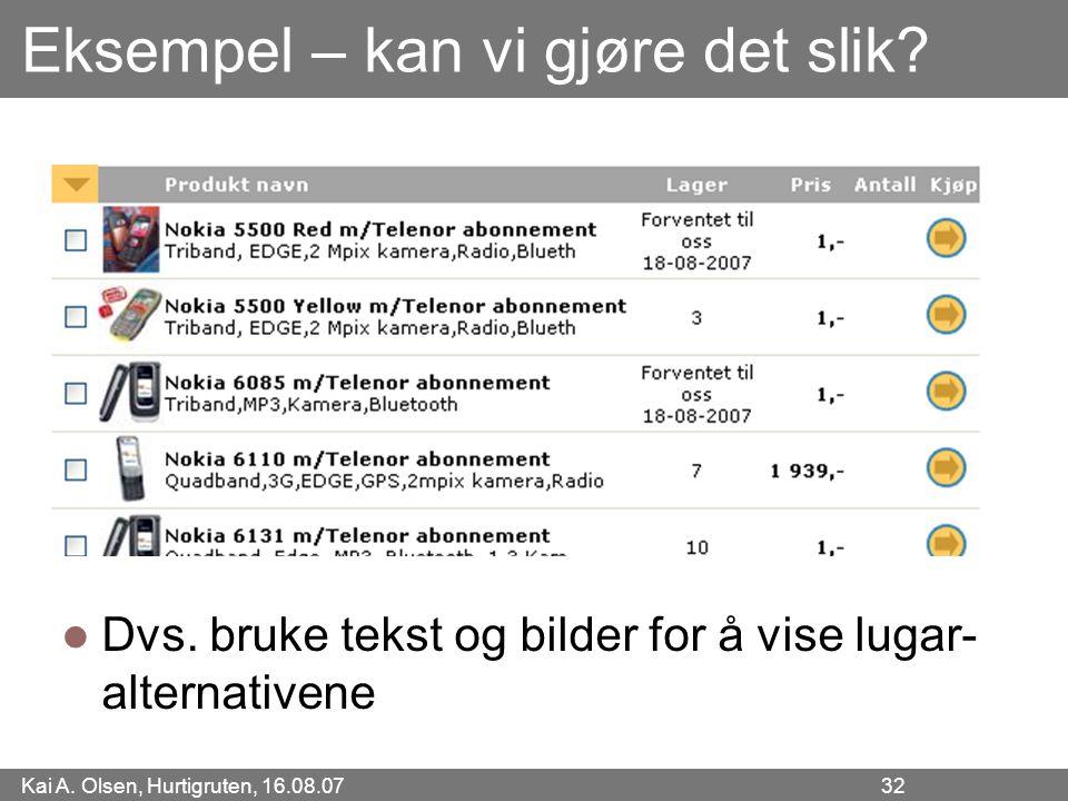 Kai A. Olsen, Hurtigruten, 16.08.07 32 Eksempel – kan vi gjøre det slik? Dvs. bruke tekst og bilder for å vise lugar- alternativene