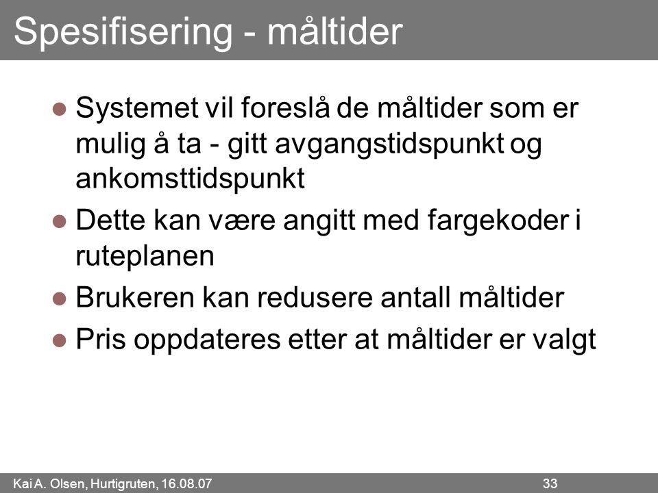 Kai A. Olsen, Hurtigruten, 16.08.07 33 Spesifisering - måltider Systemet vil foreslå de måltider som er mulig å ta - gitt avgangstidspunkt og ankomstt