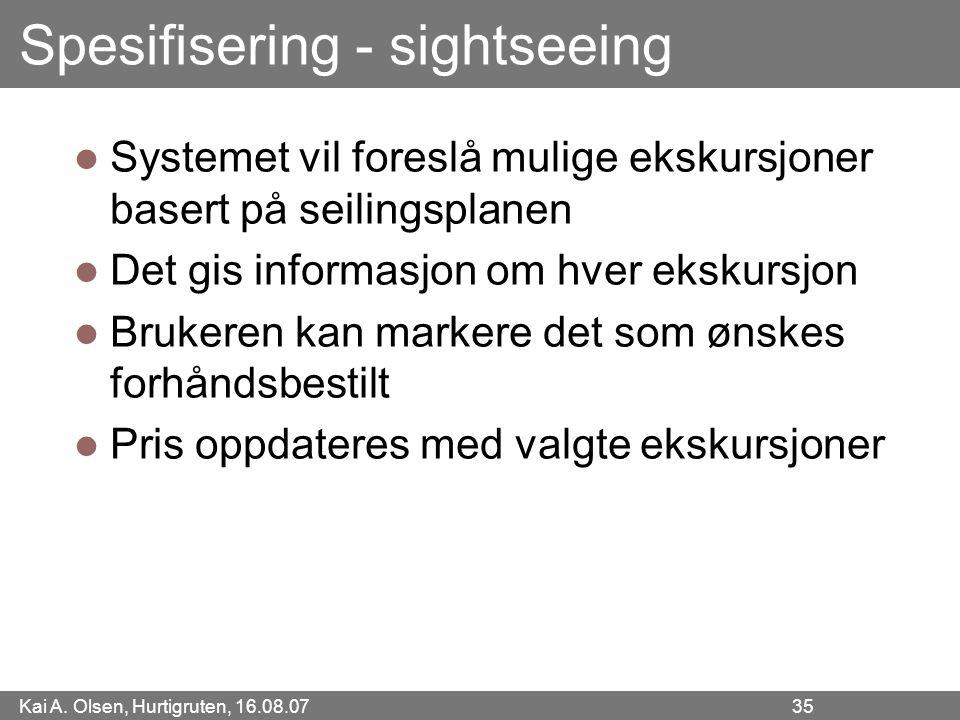 Kai A. Olsen, Hurtigruten, 16.08.07 35 Spesifisering - sightseeing Systemet vil foreslå mulige ekskursjoner basert på seilingsplanen Det gis informasj