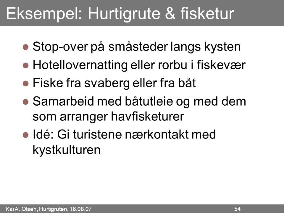 Kai A. Olsen, Hurtigruten, 16.08.07 54 Eksempel: Hurtigrute & fisketur Stop-over på småsteder langs kysten Hotellovernatting eller rorbu i fiskevær Fi