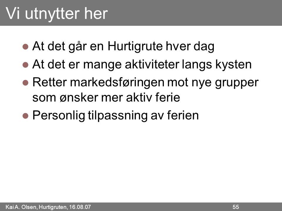 Kai A. Olsen, Hurtigruten, 16.08.07 55 Vi utnytter her At det går en Hurtigrute hver dag At det er mange aktiviteter langs kysten Retter markedsføring