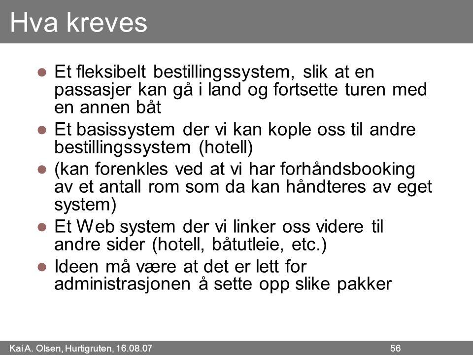 Kai A. Olsen, Hurtigruten, 16.08.07 56 Hva kreves Et fleksibelt bestillingssystem, slik at en passasjer kan gå i land og fortsette turen med en annen