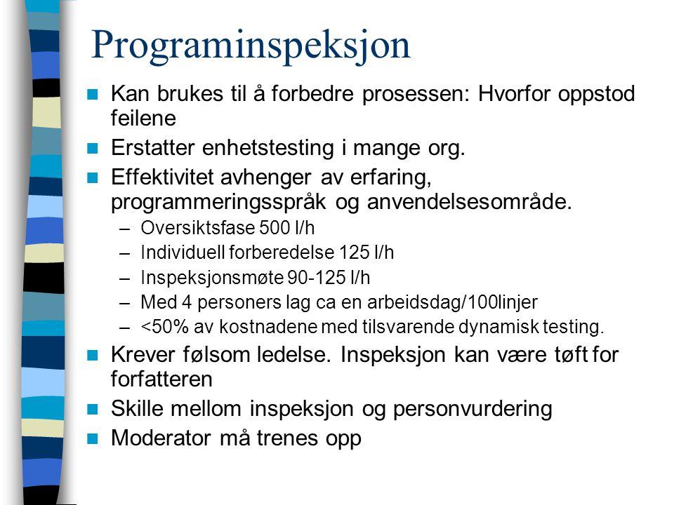 Programinspeksjon Kan brukes til å forbedre prosessen: Hvorfor oppstod feilene Erstatter enhetstesting i mange org. Effektivitet avhenger av erfaring,