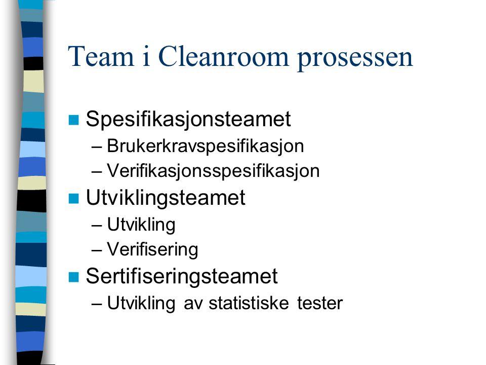 Team i Cleanroom prosessen Spesifikasjonsteamet –Brukerkravspesifikasjon –Verifikasjonsspesifikasjon Utviklingsteamet –Utvikling –Verifisering Sertifi