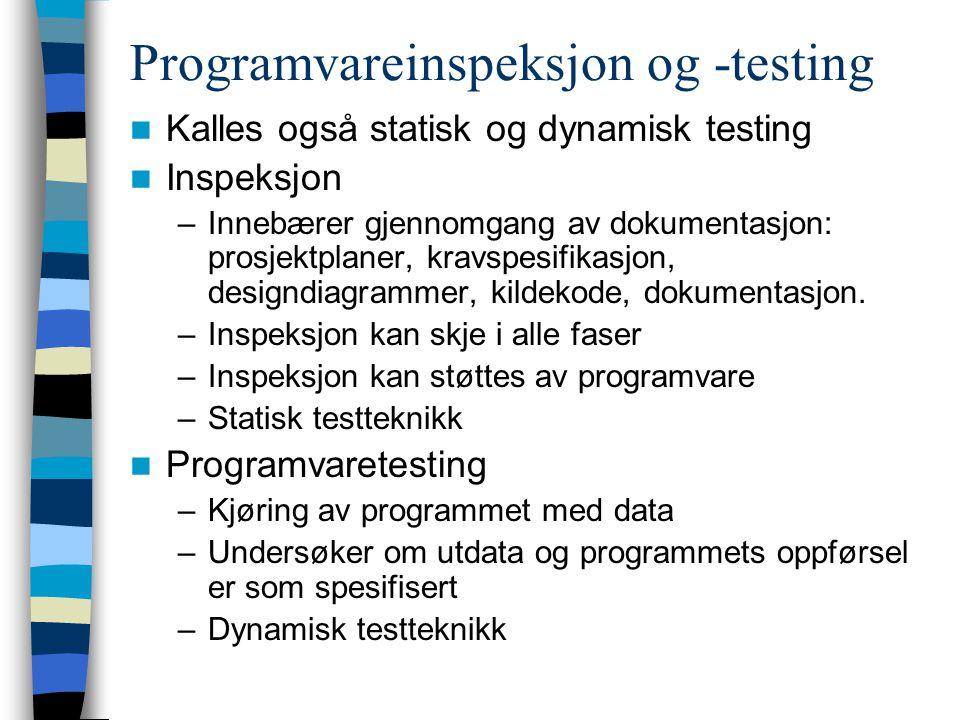 Programvareinspeksjon og -testing Kalles også statisk og dynamisk testing Inspeksjon –Innebærer gjennomgang av dokumentasjon: prosjektplaner, kravspes