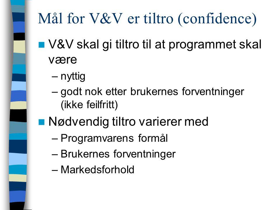 Mål for V&V er tiltro (confidence) V&V skal gi tiltro til at programmet skal være –nyttig –godt nok etter brukernes forventninger (ikke feilfritt) Nød
