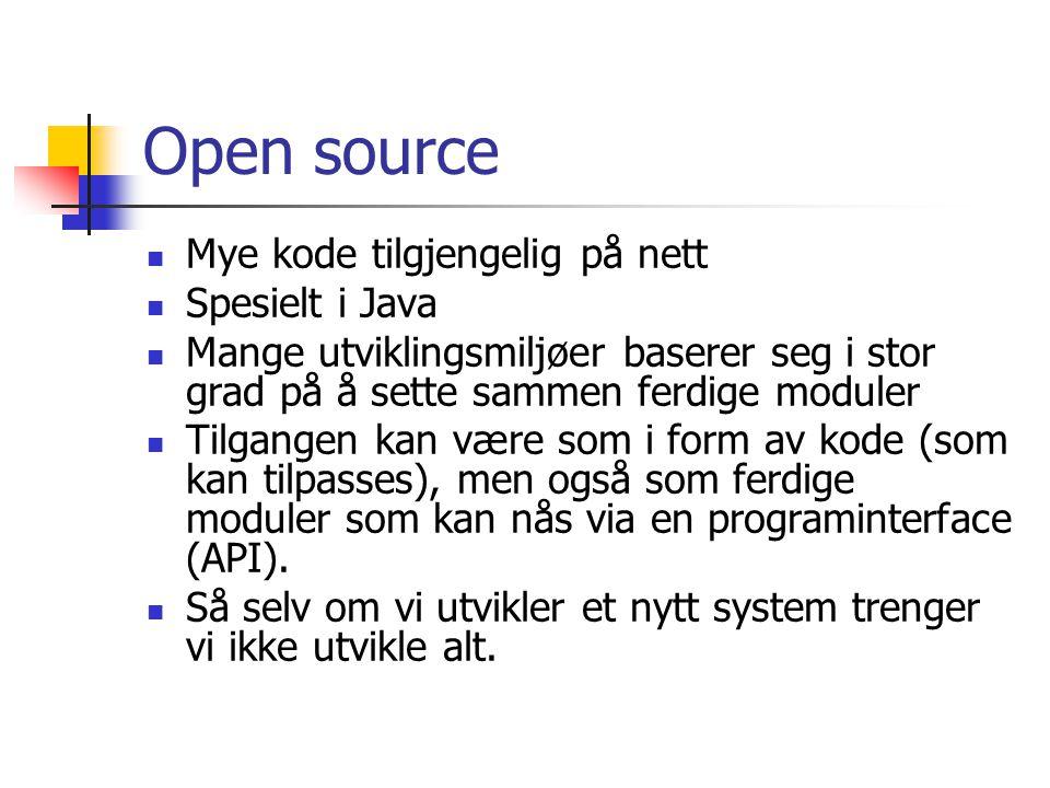 Open source Mye kode tilgjengelig på nett Spesielt i Java Mange utviklingsmiljøer baserer seg i stor grad på å sette sammen ferdige moduler Tilgangen