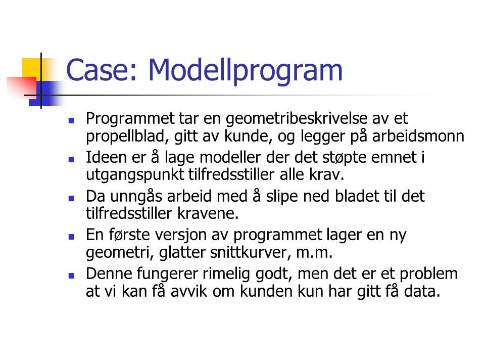 Case: Modellprogram Programmet tar en geometribeskrivelse av et propellblad, gitt av kunde, og legger på arbeidsmonn Ideen er å lage modeller der det