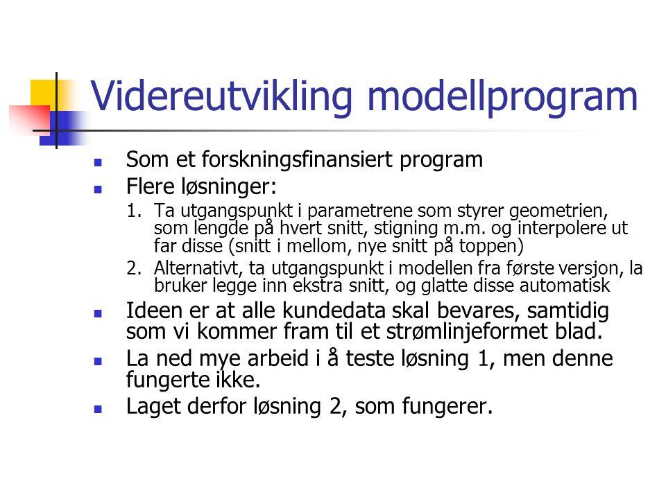 Videreutvikling modellprogram Som et forskningsfinansiert program Flere løsninger: 1.Ta utgangspunkt i parametrene som styrer geometrien, som lengde p