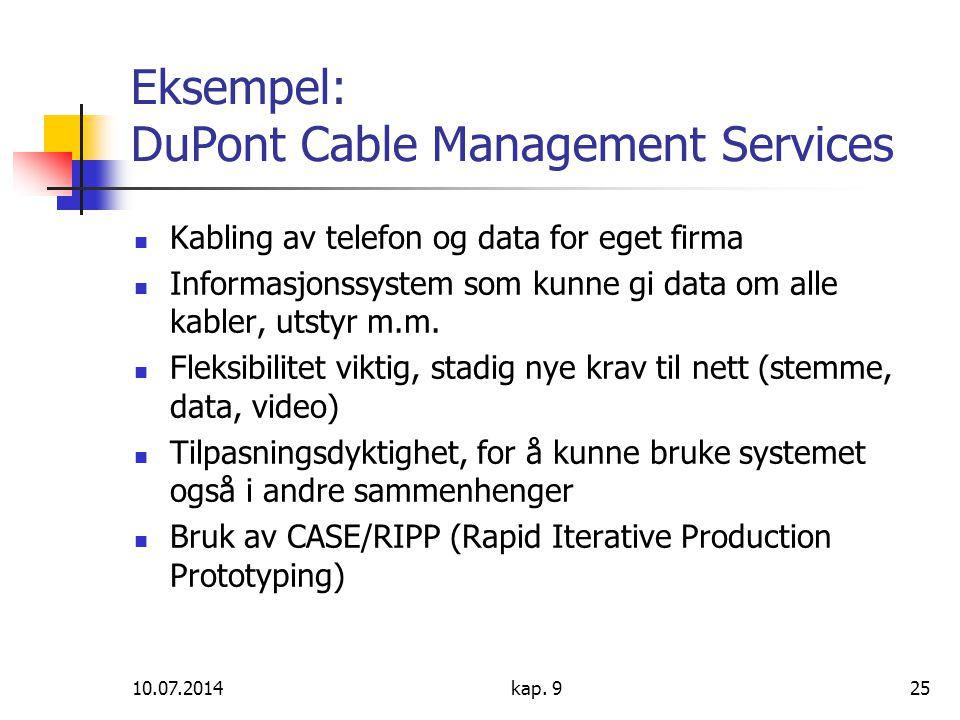 10.07.2014kap. 925 Eksempel: DuPont Cable Management Services Kabling av telefon og data for eget firma Informasjonssystem som kunne gi data om alle k