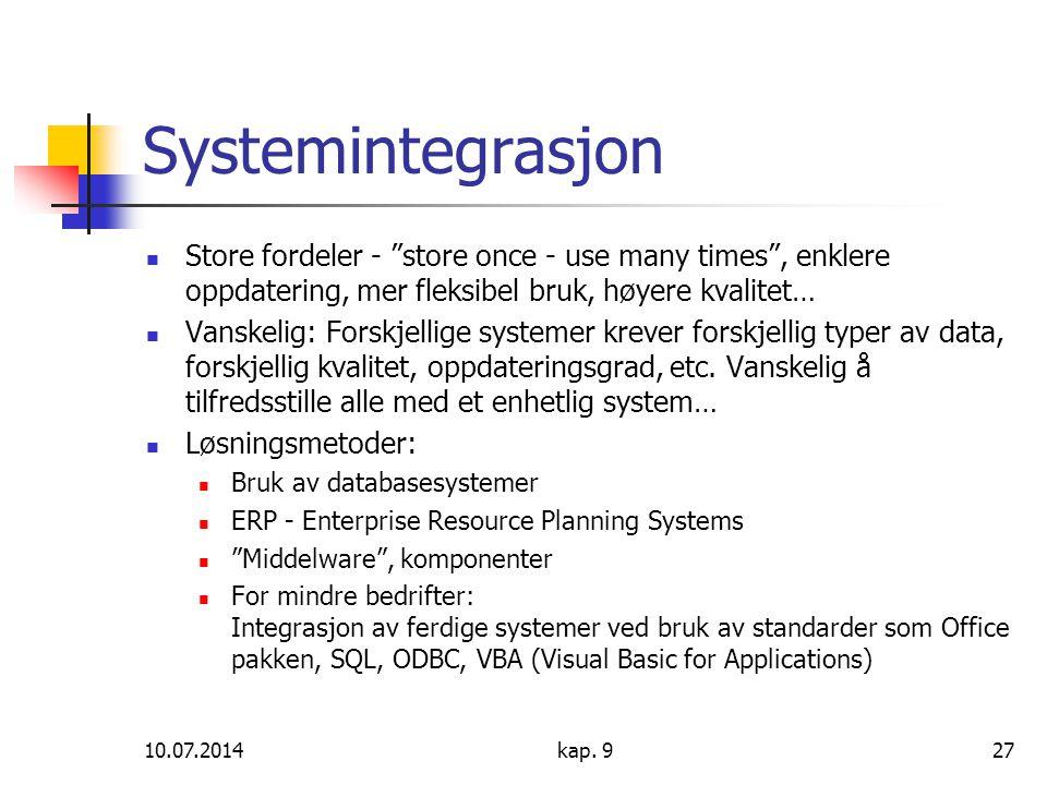 """10.07.2014kap. 927 Systemintegrasjon Store fordeler - """"store once - use many times"""", enklere oppdatering, mer fleksibel bruk, høyere kvalitet… Vanskel"""