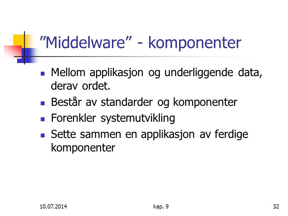 """10.07.2014kap. 932 """"Middelware"""" - komponenter Mellom applikasjon og underliggende data, derav ordet. Består av standarder og komponenter Forenkler sys"""