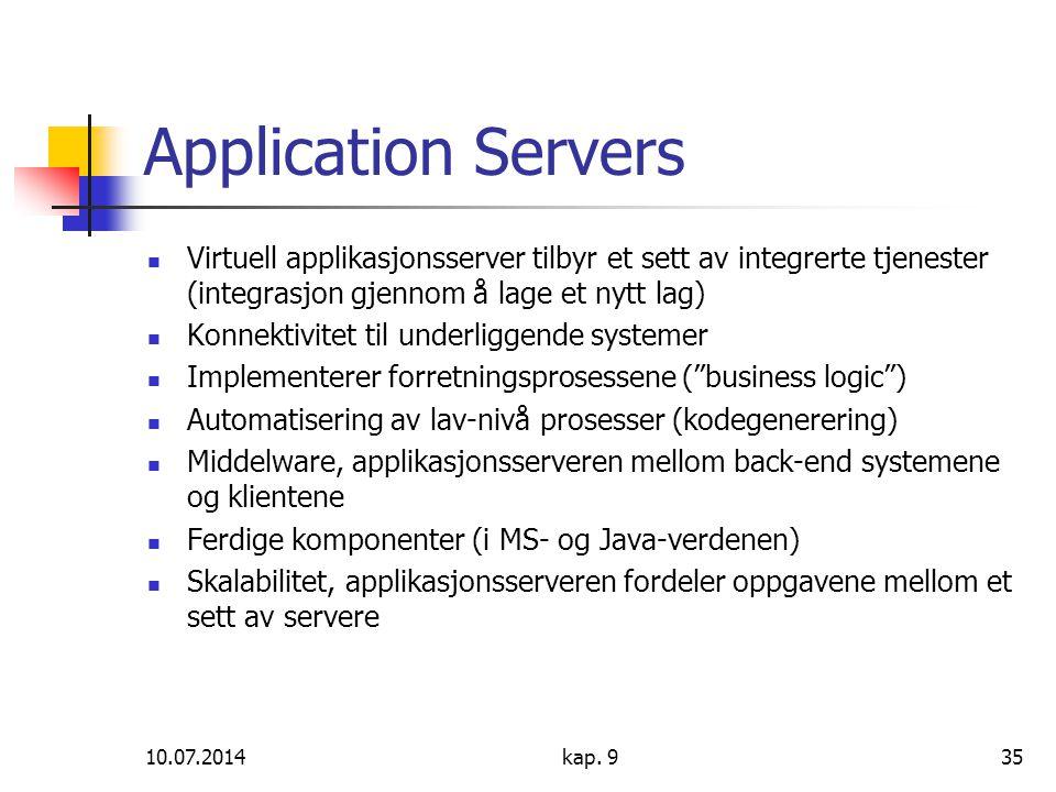 10.07.2014kap. 935 Application Servers Virtuell applikasjonsserver tilbyr et sett av integrerte tjenester (integrasjon gjennom å lage et nytt lag) Kon