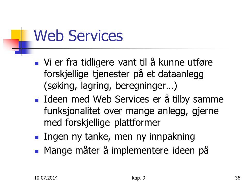 10.07.2014kap. 936 Web Services Vi er fra tidligere vant til å kunne utføre forskjellige tjenester på et dataanlegg (søking, lagring, beregninger…) Id