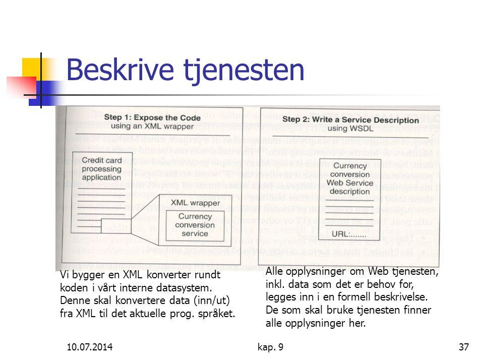 10.07.2014kap. 937 Beskrive tjenesten Vi bygger en XML konverter rundt koden i vårt interne datasystem. Denne skal konvertere data (inn/ut) fra XML ti