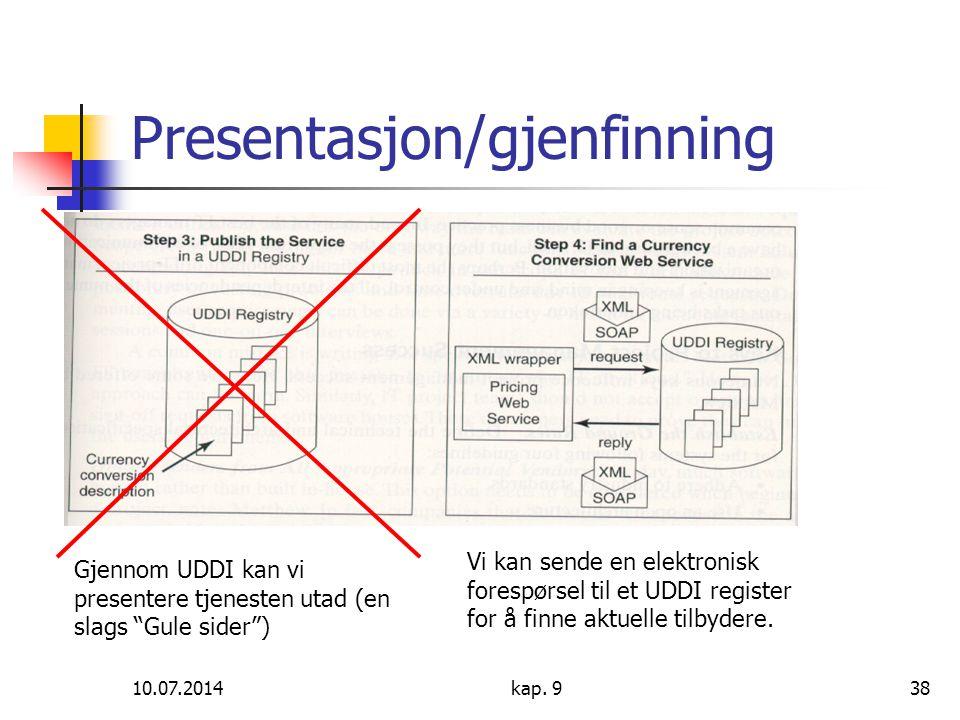 """10.07.2014kap. 938 Presentasjon/gjenfinning Gjennom UDDI kan vi presentere tjenesten utad (en slags """"Gule sider"""") Vi kan sende en elektronisk forespør"""