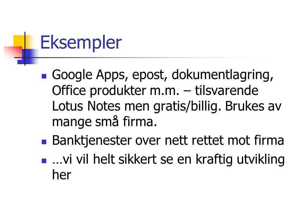 Eksempler Google Apps, epost, dokumentlagring, Office produkter m.m. – tilsvarende Lotus Notes men gratis/billig. Brukes av mange små firma. Banktjene