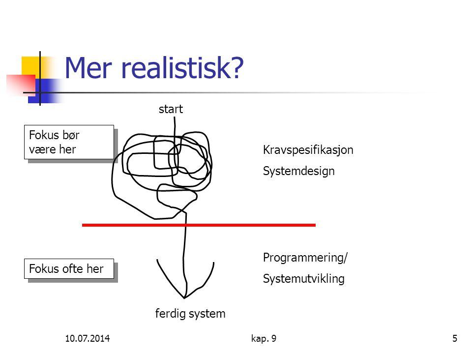 10.07.2014kap. 95 Mer realistisk? Kravspesifikasjon Systemdesign Programmering/ Systemutvikling start ferdig system Fokus bør være her Fokus ofte her