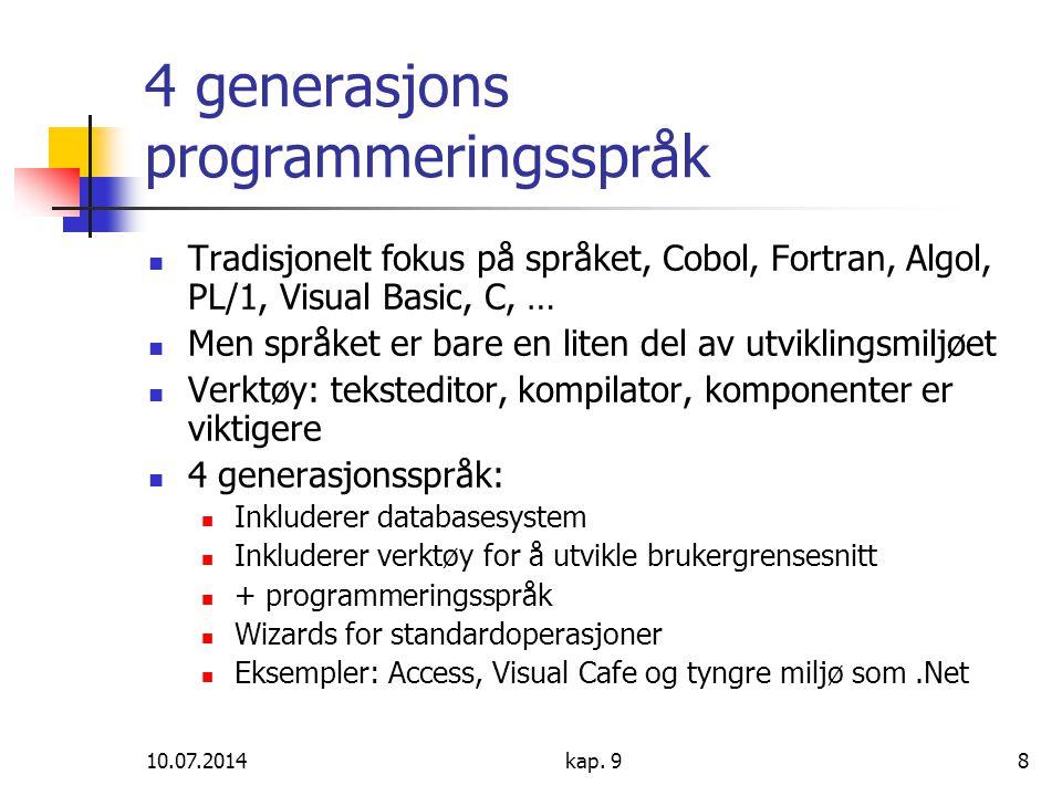 10.07.2014kap. 98 4 generasjons programmeringsspråk Tradisjonelt fokus på språket, Cobol, Fortran, Algol, PL/1, Visual Basic, C, … Men språket er bare