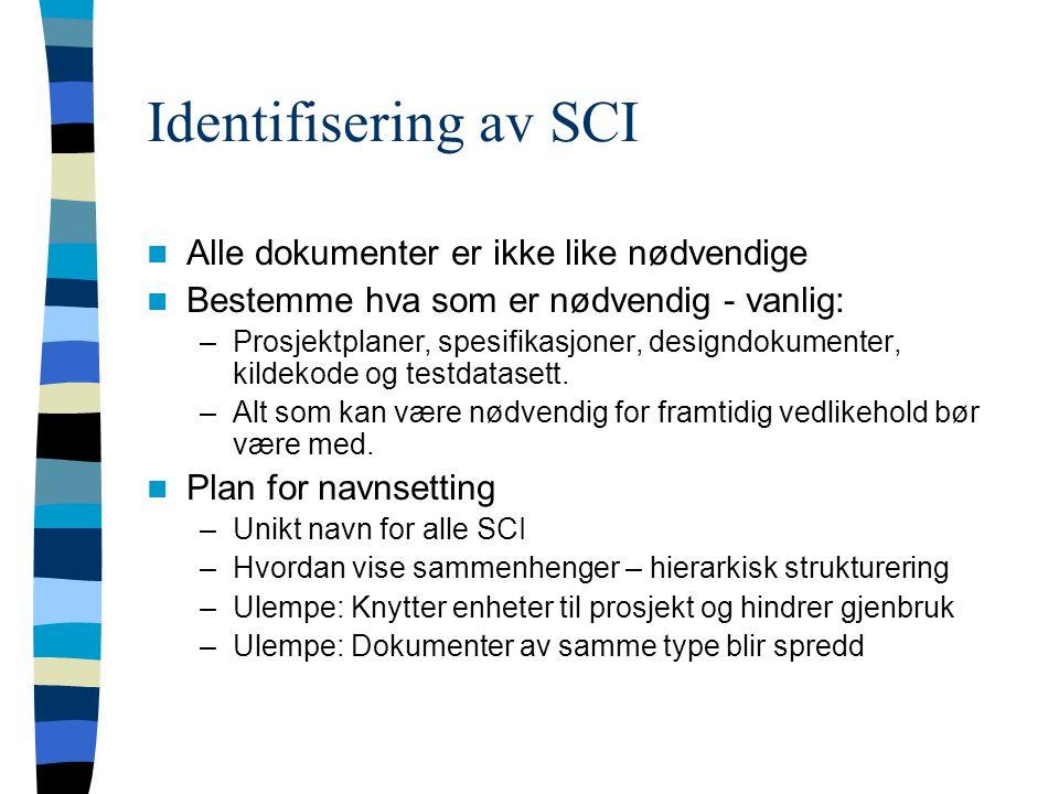 Identifisering av SCI Alle dokumenter er ikke like nødvendige Bestemme hva som er nødvendig - vanlig: –Prosjektplaner, spesifikasjoner, designdokumenter, kildekode og testdatasett.