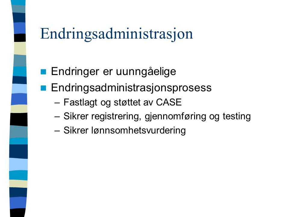 Endringsadministrasjon Endringer er uunngåelige Endringsadministrasjonsprosess –Fastlagt og støttet av CASE –Sikrer registrering, gjennomføring og testing –Sikrer lønnsomhetsvurdering