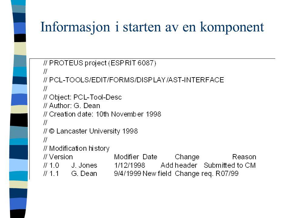 Informasjon i starten av en komponent