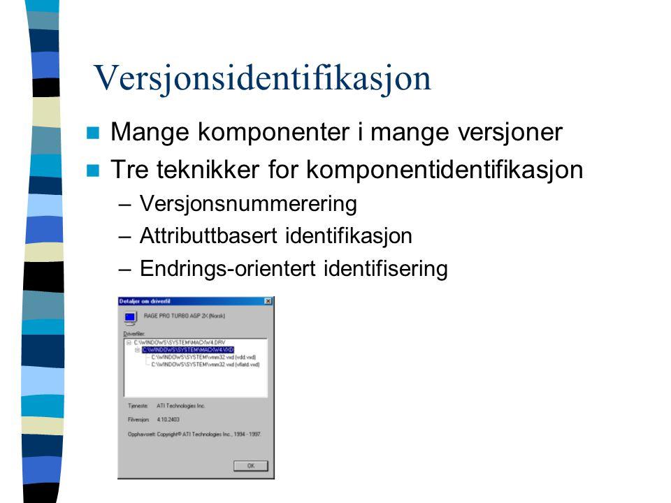 Versjonsidentifikasjon Mange komponenter i mange versjoner Tre teknikker for komponentidentifikasjon –Versjonsnummerering –Attributtbasert identifikasjon –Endrings-orientert identifisering