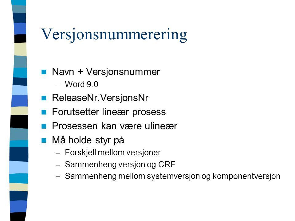 Versjonsnummerering Navn + Versjonsnummer –Word 9.0 ReleaseNr.VersjonsNr Forutsetter lineær prosess Prosessen kan være ulineær Må holde styr på –Forsk