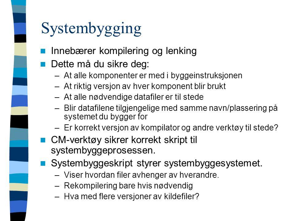 Systembygging Innebærer kompilering og lenking Dette må du sikre deg: –At alle komponenter er med i byggeinstruksjonen –At riktig versjon av hver komp