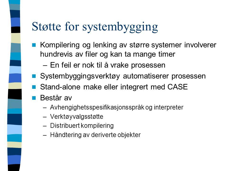 Støtte for systembygging Kompilering og lenking av større systemer involverer hundrevis av filer og kan ta mange timer –En feil er nok til å vrake pro