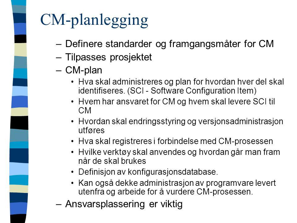 CM-planlegging –Definere standarder og framgangsmåter for CM –Tilpasses prosjektet –CM-plan Hva skal administreres og plan for hvordan hver del skal identifiseres.