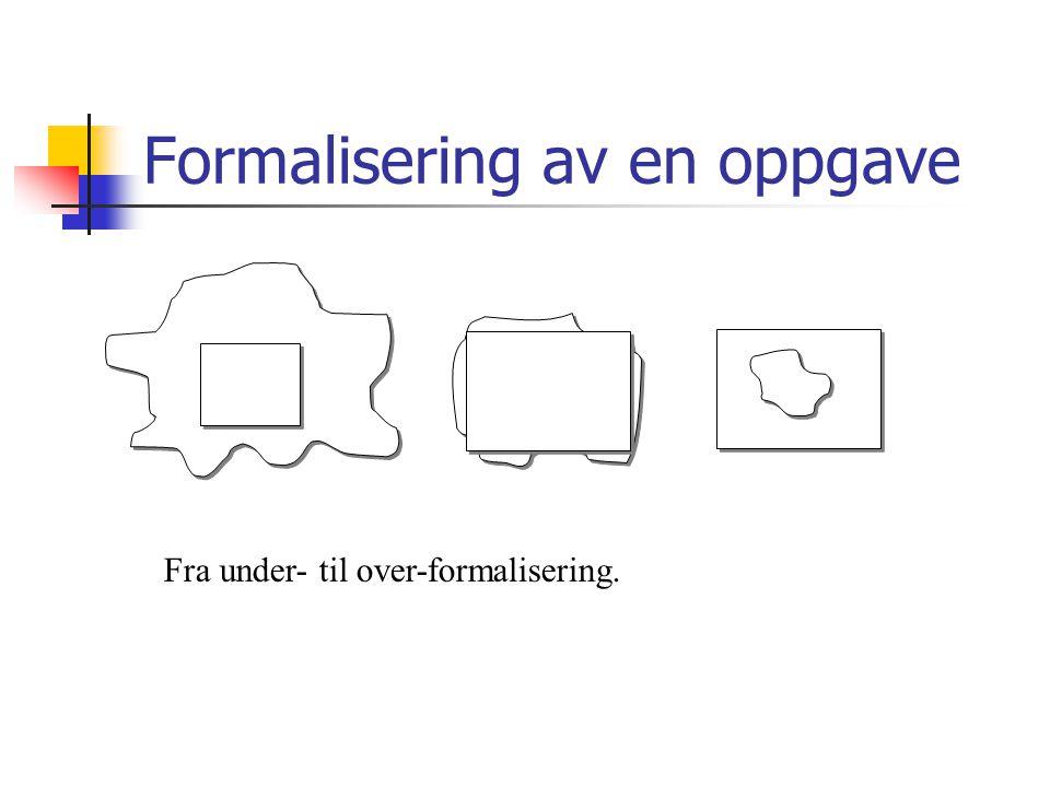 Formalisering av en oppgave Fra under- til over-formalisering.
