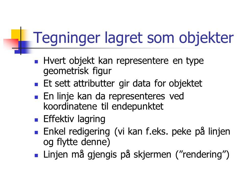 Tegninger lagret som objekter Hvert objekt kan representere en type geometrisk figur Et sett attributter gir data for objektet En linje kan da representeres ved koordinatene til endepunktet Effektiv lagring Enkel redigering (vi kan f.eks.