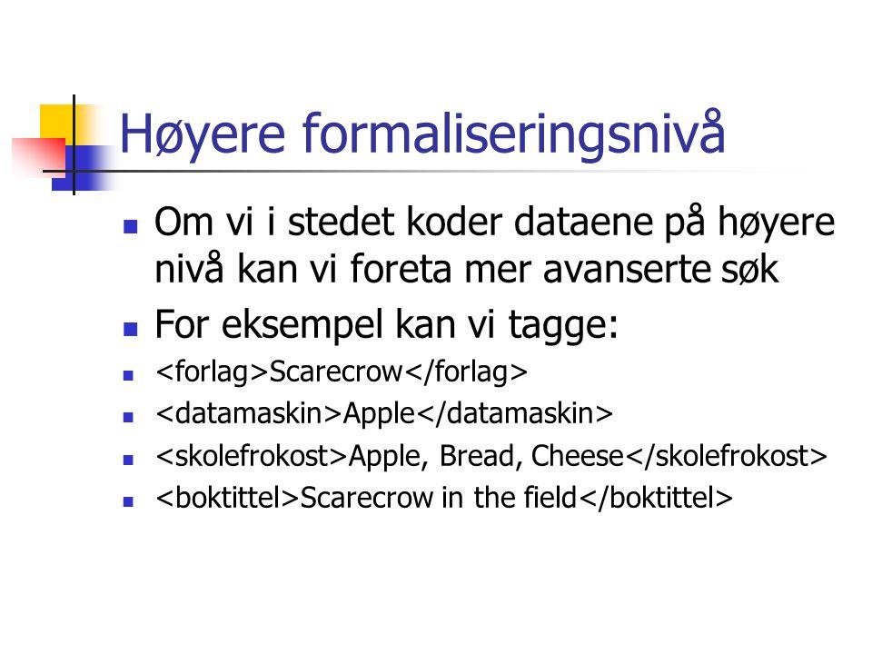 Høyere formaliseringsnivå Om vi i stedet koder dataene på høyere nivå kan vi foreta mer avanserte søk For eksempel kan vi tagge: Scarecrow Apple Apple, Bread, Cheese Scarecrow in the field