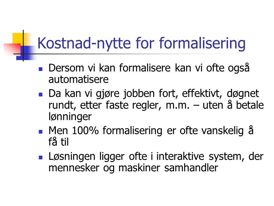 Kostnad-nytte for formalisering Dersom vi kan formalisere kan vi ofte også automatisere Da kan vi gjøre jobben fort, effektivt, døgnet rundt, etter faste regler, m.m.
