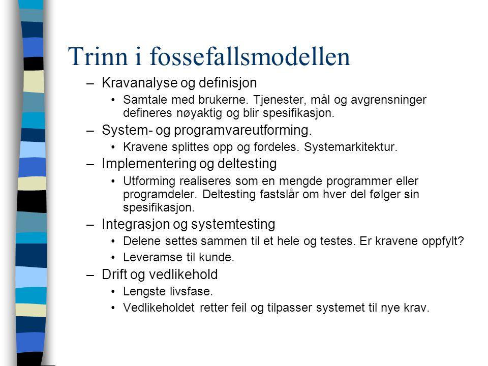Trinn i fossefallsmodellen –Kravanalyse og definisjon Samtale med brukerne.