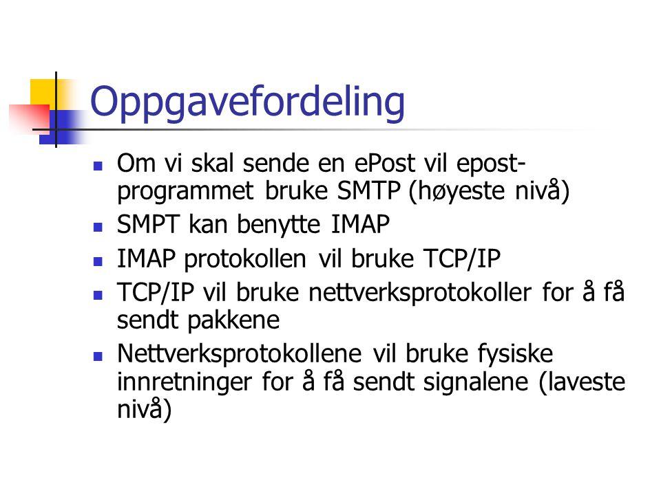 Oppgavefordeling Om vi skal sende en ePost vil epost- programmet bruke SMTP (høyeste nivå) SMPT kan benytte IMAP IMAP protokollen vil bruke TCP/IP TCP/IP vil bruke nettverksprotokoller for å få sendt pakkene Nettverksprotokollene vil bruke fysiske innretninger for å få sendt signalene (laveste nivå)