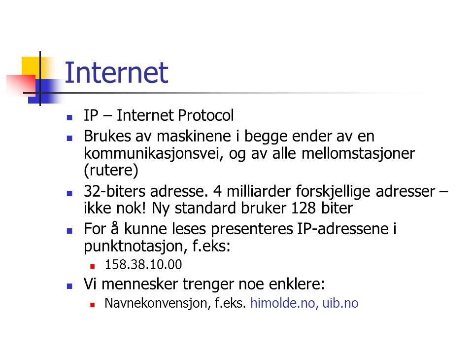 Internet IP – Internet Protocol Brukes av maskinene i begge ender av en kommunikasjonsvei, og av alle mellomstasjoner (rutere) 32-biters adresse.
